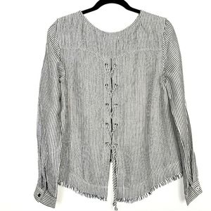 Cloth & Stone Stripe Lace Up Back Blouse